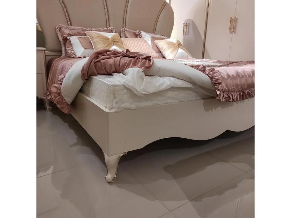 FurnitureCo кровать двуспальная  180х200 (крем) Liberty