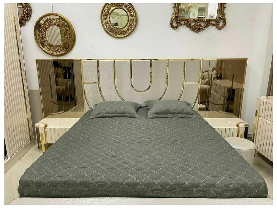 FurnitureCo кровать двуспальная 180х200 (беж) Luxury
