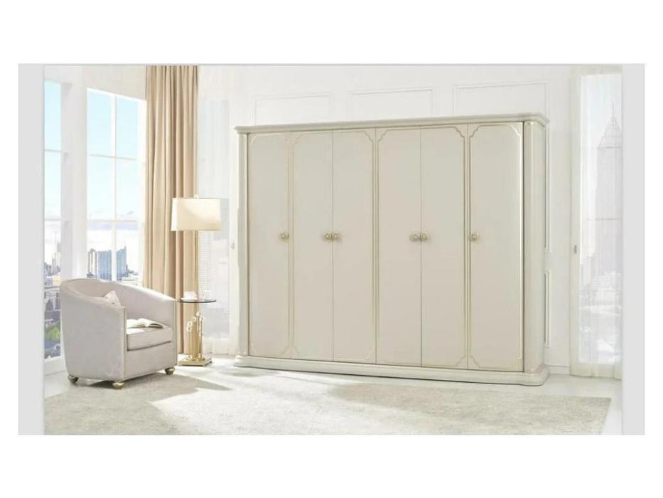 FurnitureCo шкаф 6 дверный  (крем) Paola