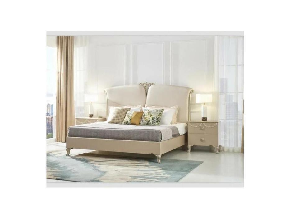 FurnitureCo кровать двуспальная  180х200 (крем) Sherilyn