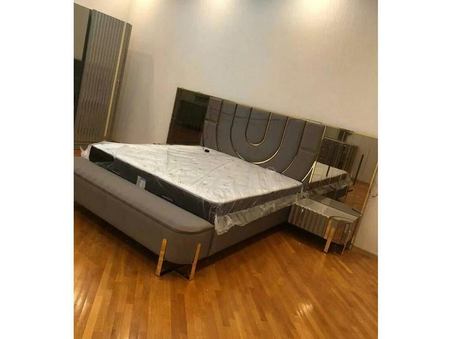 FurnitureCo кровать двуспальная 180х200 (серый) Luxury
