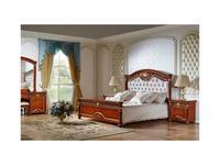 FurnitureCo кровать двуспальная 180х200 с мягким изголовьем (орех) Атанасия