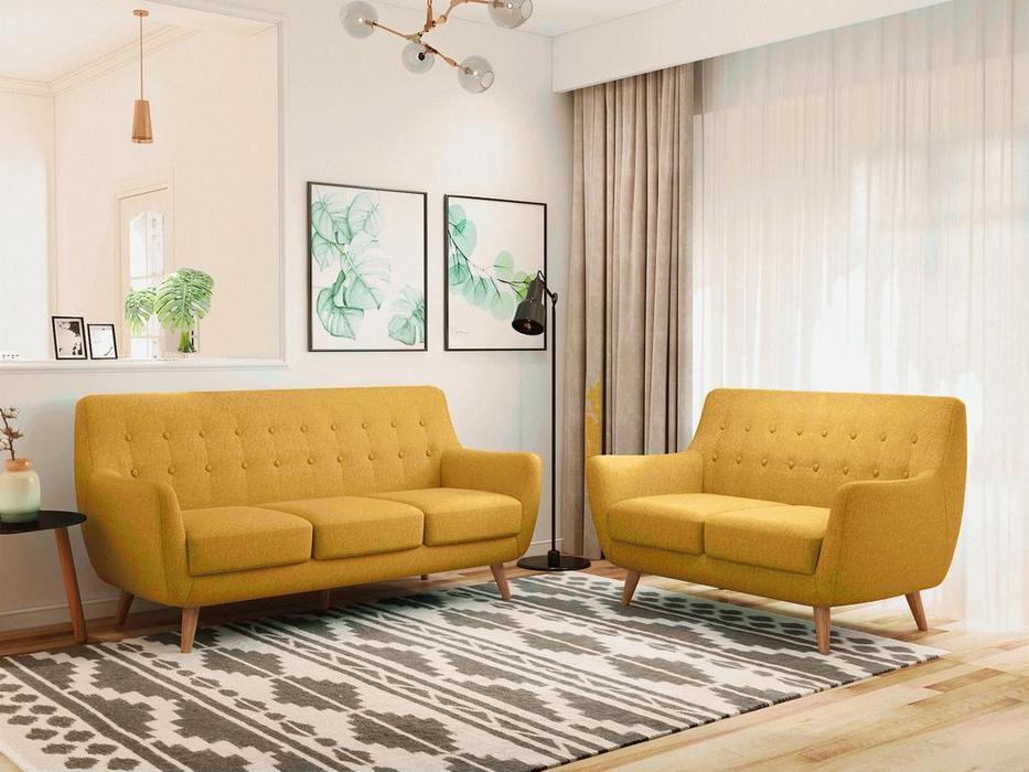 Bradexhome диван 2 местный  (горчичный) Picasso