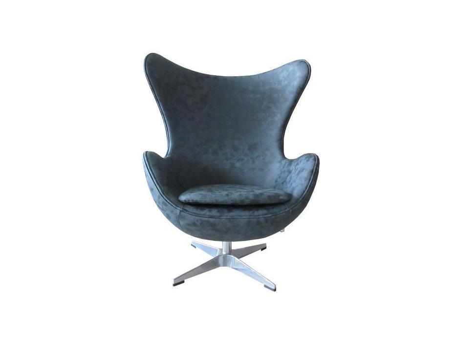 Bradexhome кресло  (черный,состаренная кожа) Egg Chair