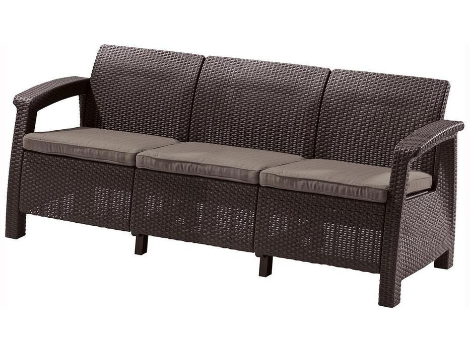 Keter садовый диван 3 местный (коричневый) Corfu lave max