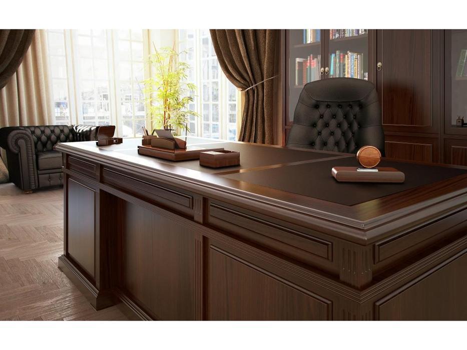 Blue Line стол руководителя  (темный орех, кожа) Washington