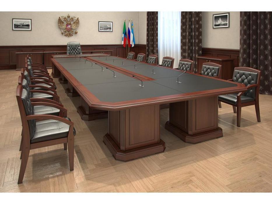 Blue Line стол переговорный 120 (темный орех, кожа) Washington