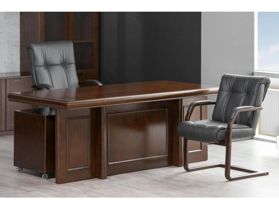 Blue Line стол руководителя с 2 тумбами (темный орех) Princeton
