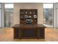 Blue Line стол руководителя  (темный орех, кожа) Princeton