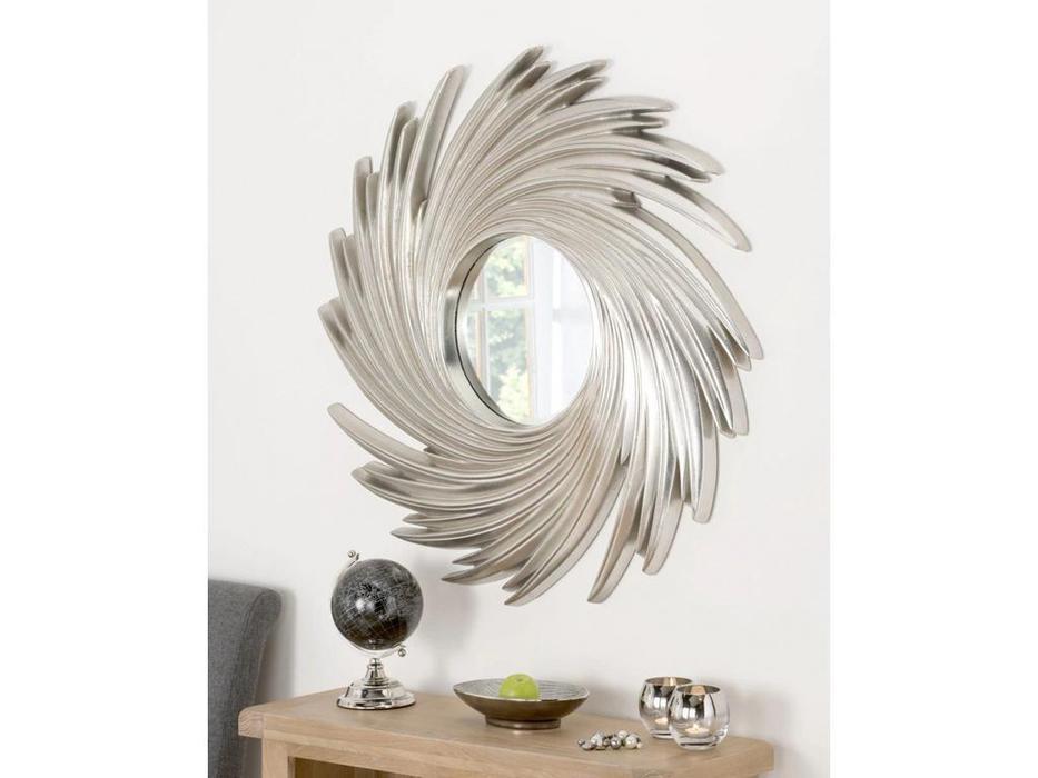 Hermitage зеркало навесное в раме (серебро) Свирл